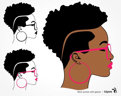black woman afro svg