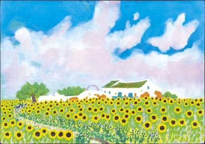 イシイタカシ「水車小屋とヒマワリ畑」