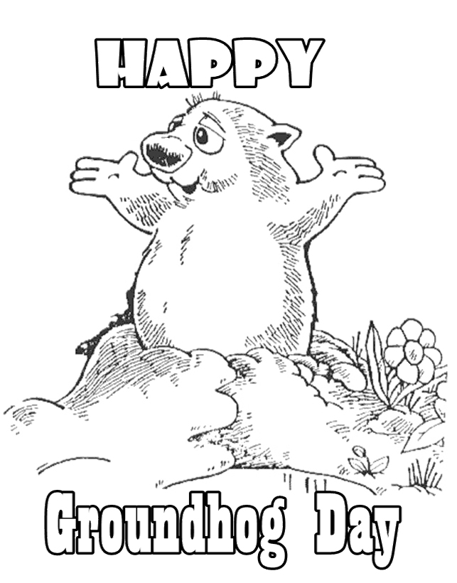 Groundhog Day Colouring Pages Clip Art Library