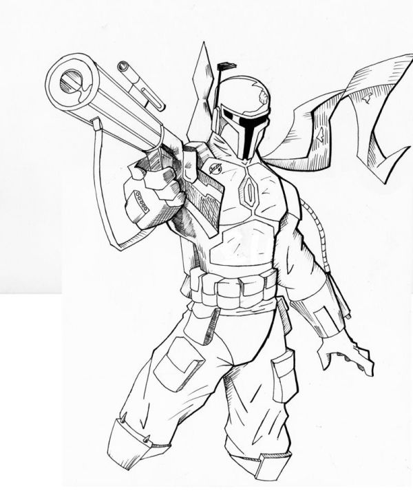 boba fett coloring page # 65
