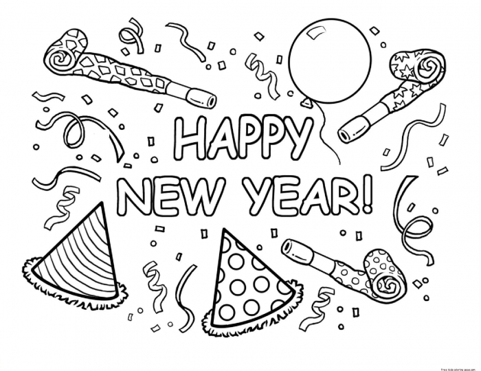 Happy New Year Coloring Page 2020 Clip Art Library