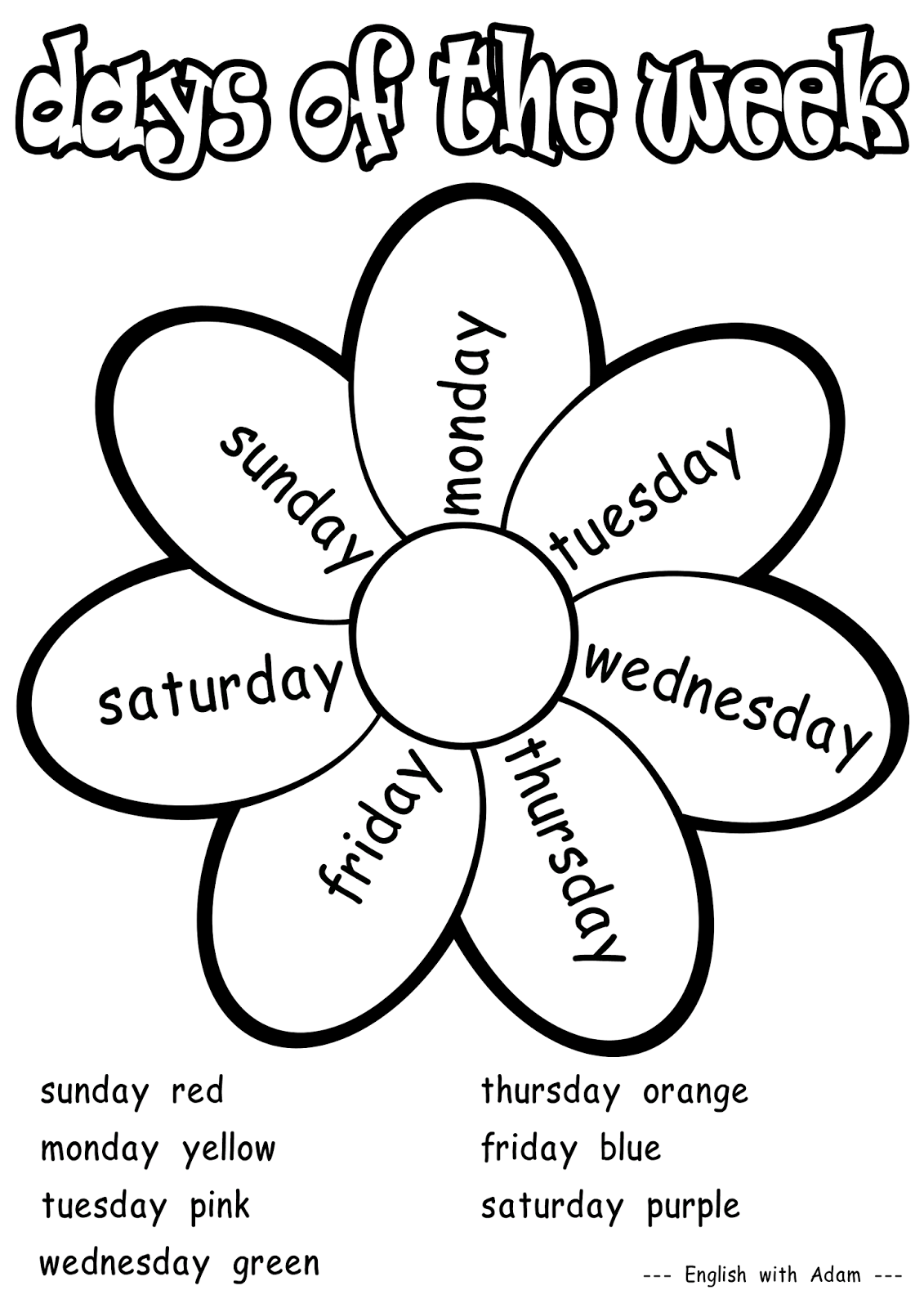 Free Days Of The Week Printable Coloring Pages Download