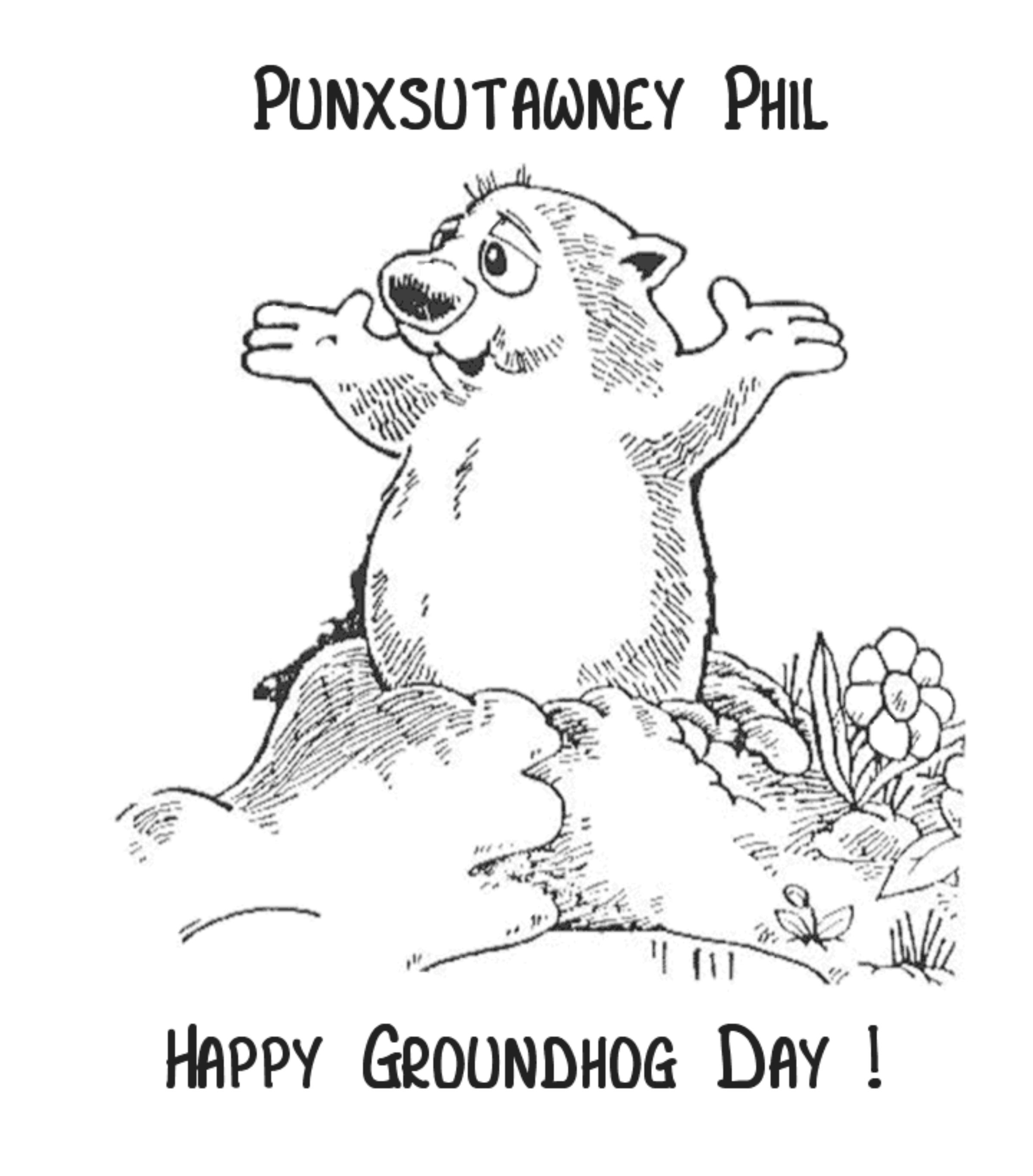Ground Hogs Day Coloring Page
