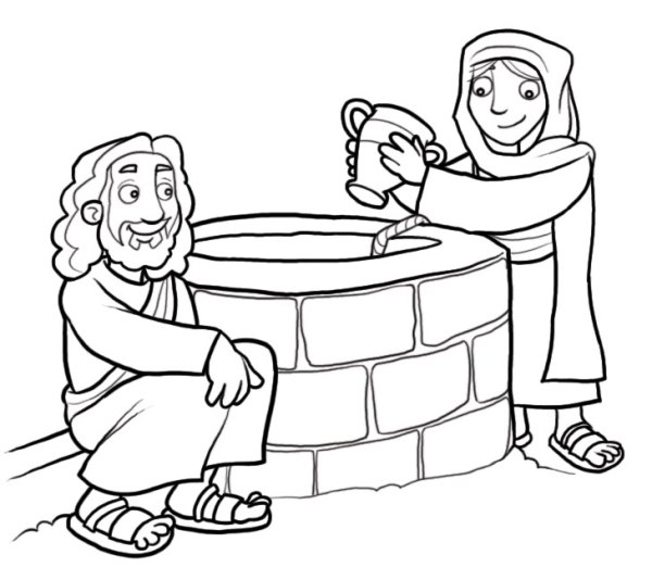 woman at the well coloring page # 5