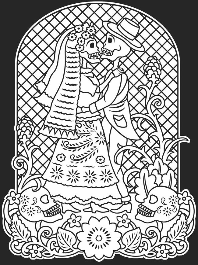 Day Of The Dead Couple Coloring Pages Clip Art Library