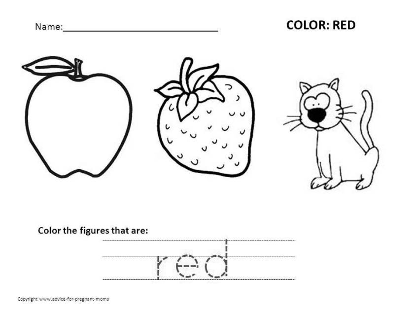 color red worksheets printable  high quality coloring