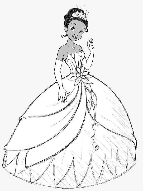 Disney Tiana Coloring Pages Clip Art Library