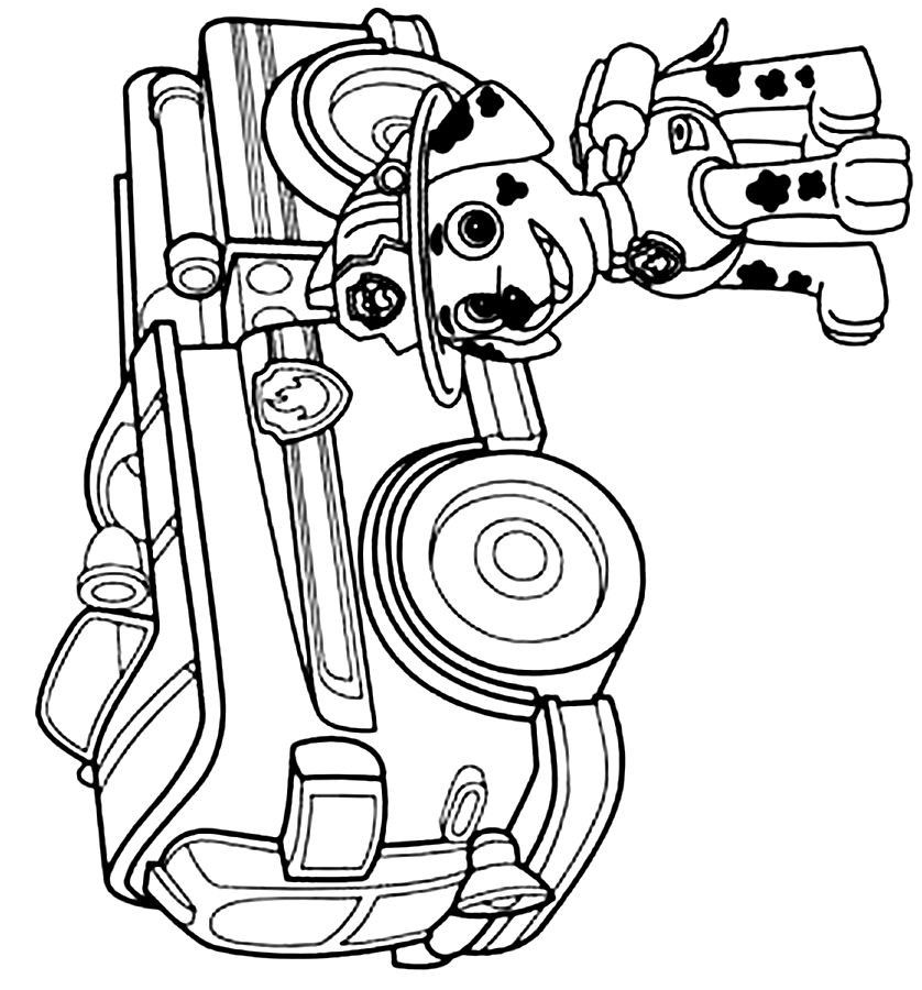 Print Paw Patrol Coloring Pages Marshall Clip Art Library