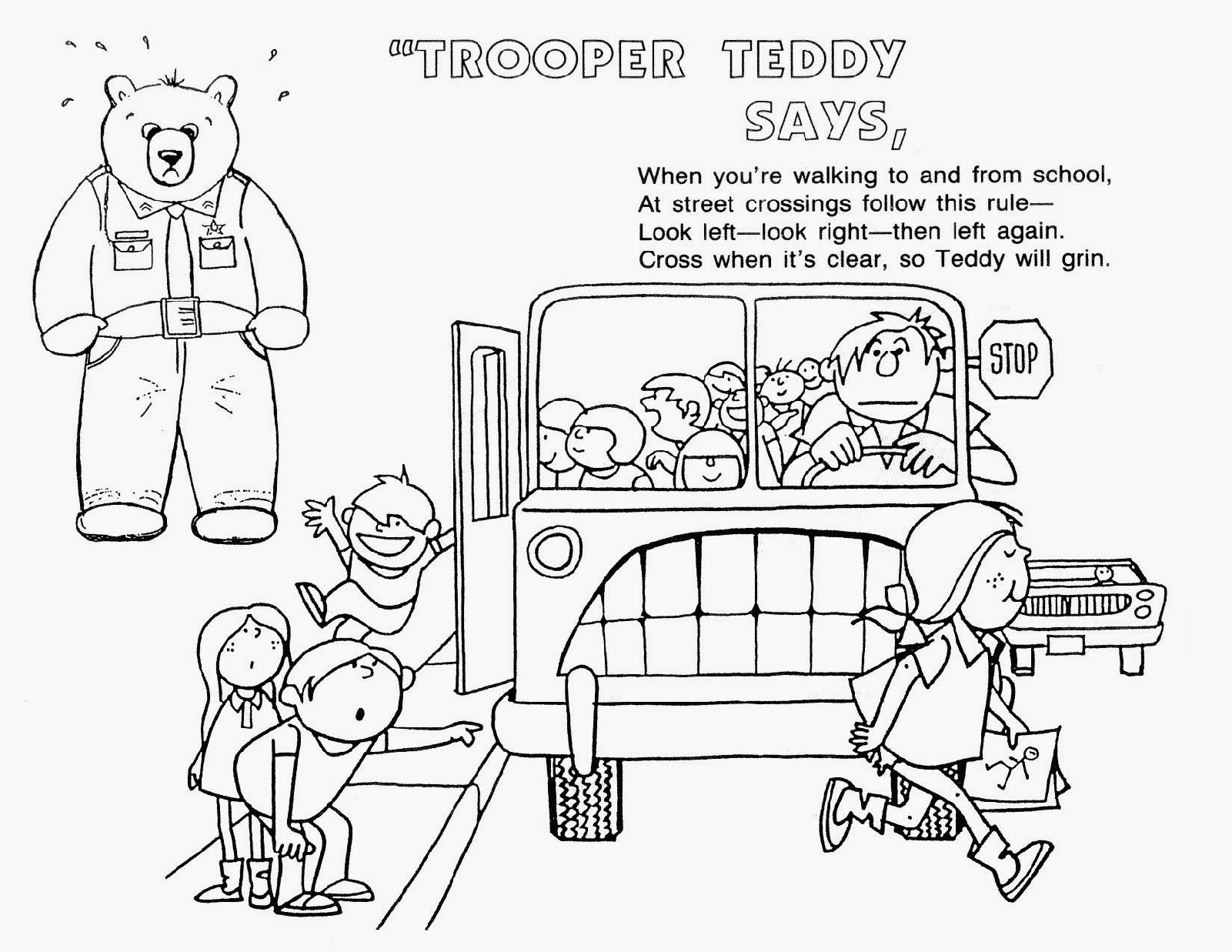 Road Safety Colouring Pages