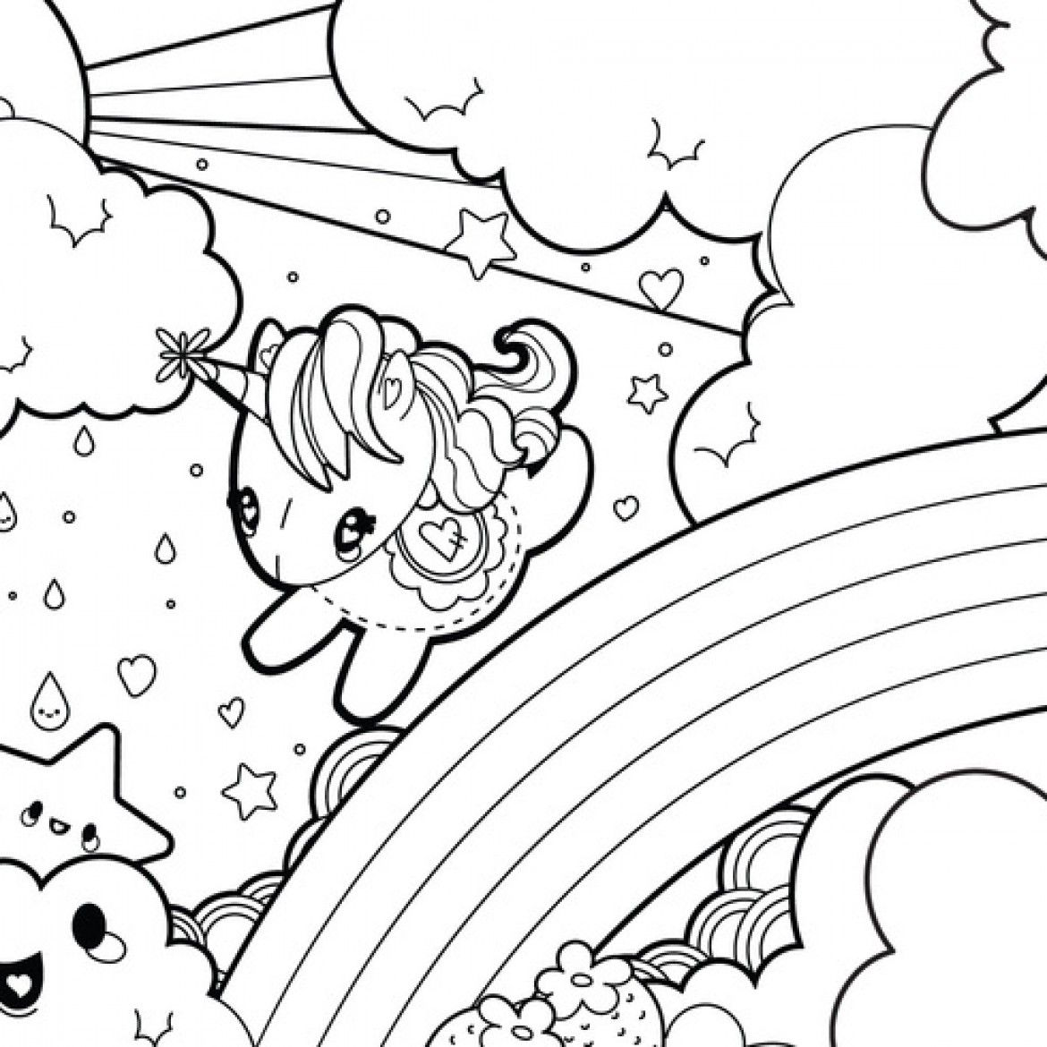 Free Cartoon Unicorn Coloring Pages Cute Download Free