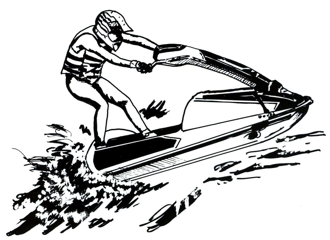 Jet Ski Clip Art Black And White