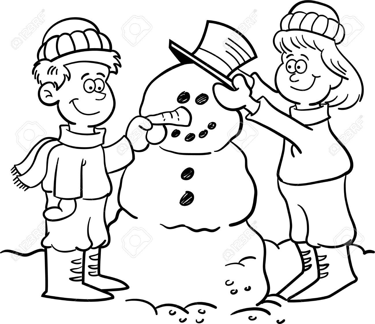 Free Clip Art Kid Snowman Black And White Clipart
