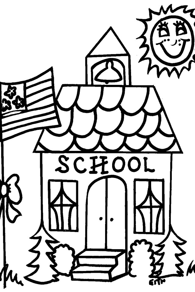 School House Coloring Page Free Printable Pages