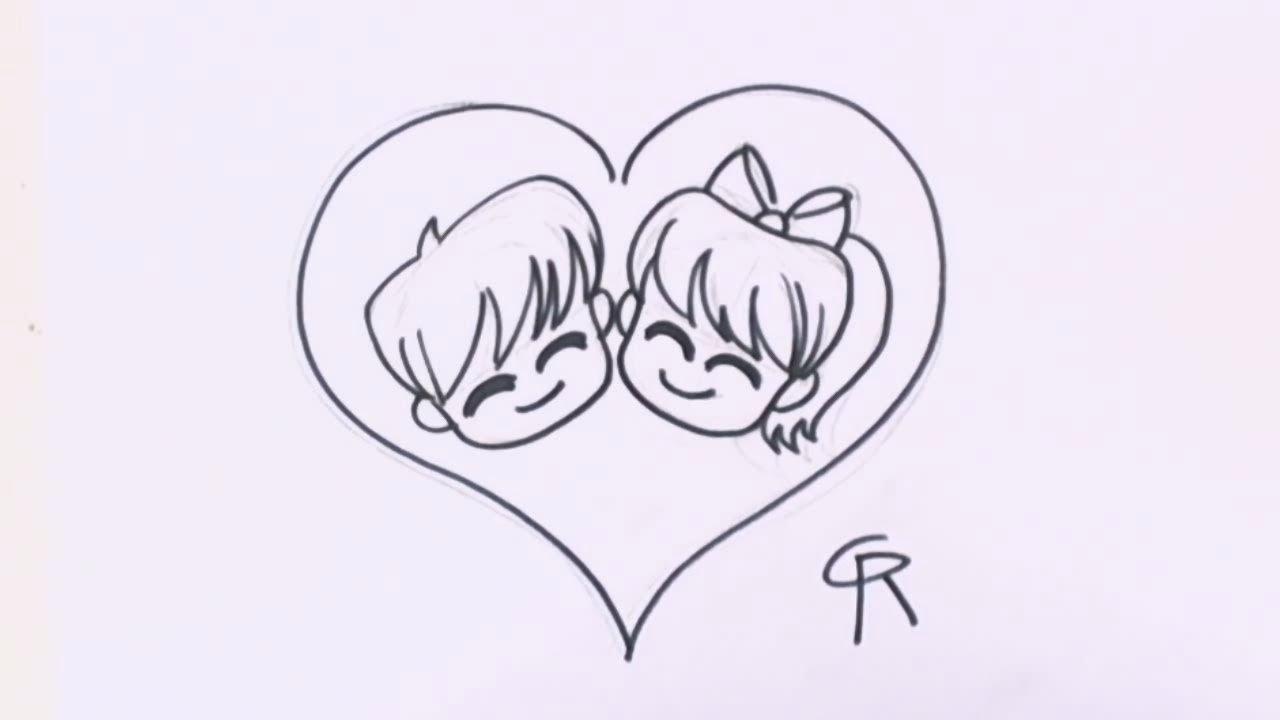 Cool Cute Panda Simple Cartoon Couple Drawing