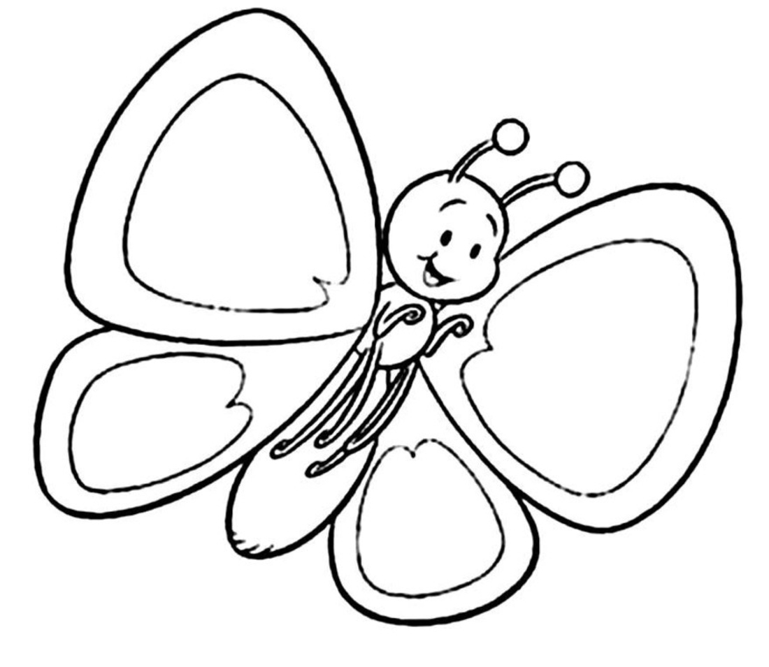 Free Pic Of Butterfly Simple In Black N White For Colouring For Kindergarten Download Free Clip