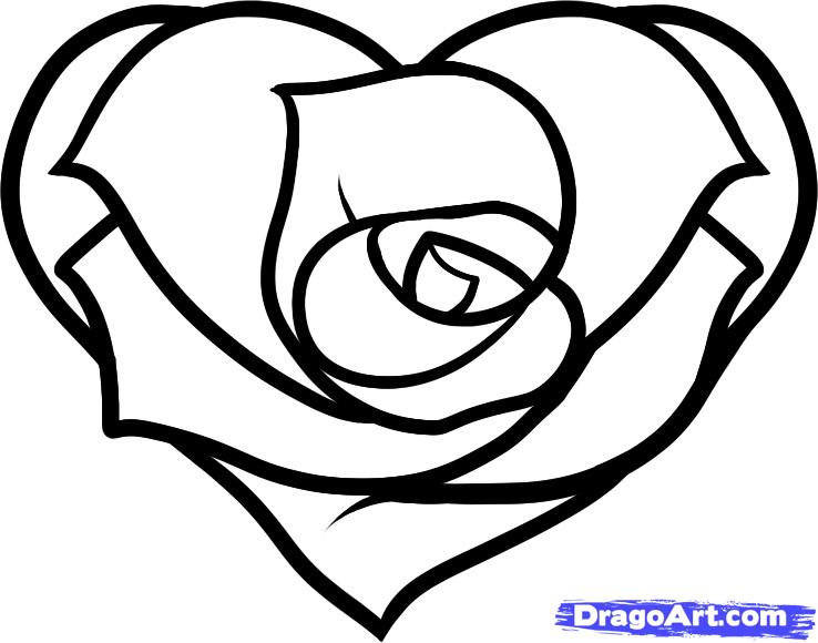 Heart Rose Drawing Simple Clip Art Library