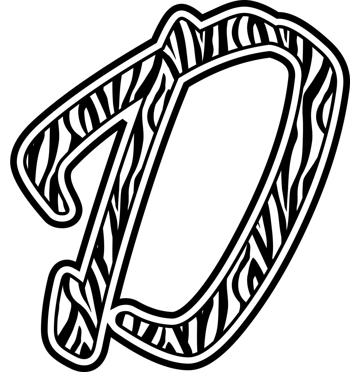 Letter N Zebra Print Colouring Pages