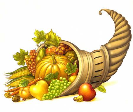 Stock Illustration Cornucopia Of Fruit And Vegetables