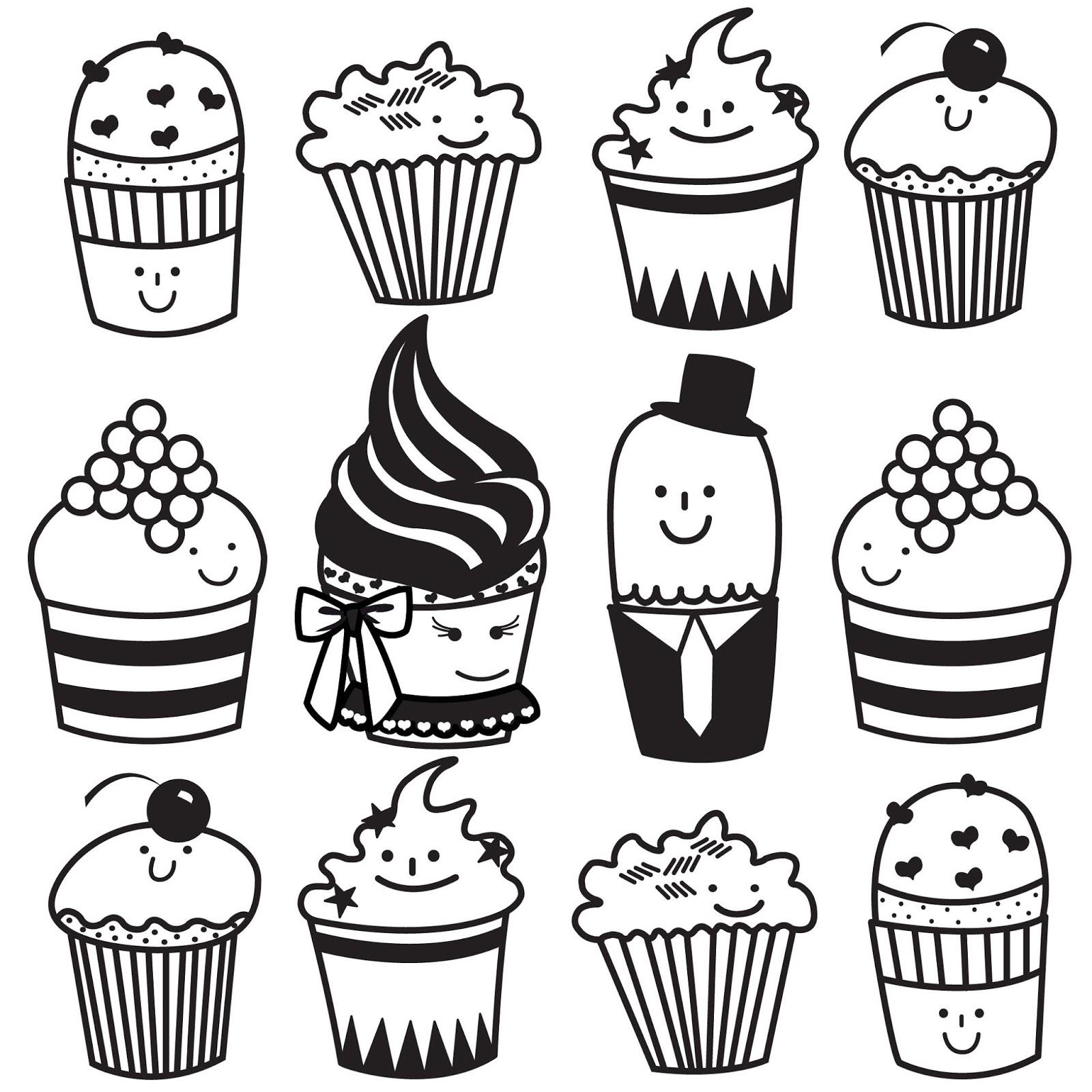 Free Cupcake Line Drawing Download Free Clip Art Free