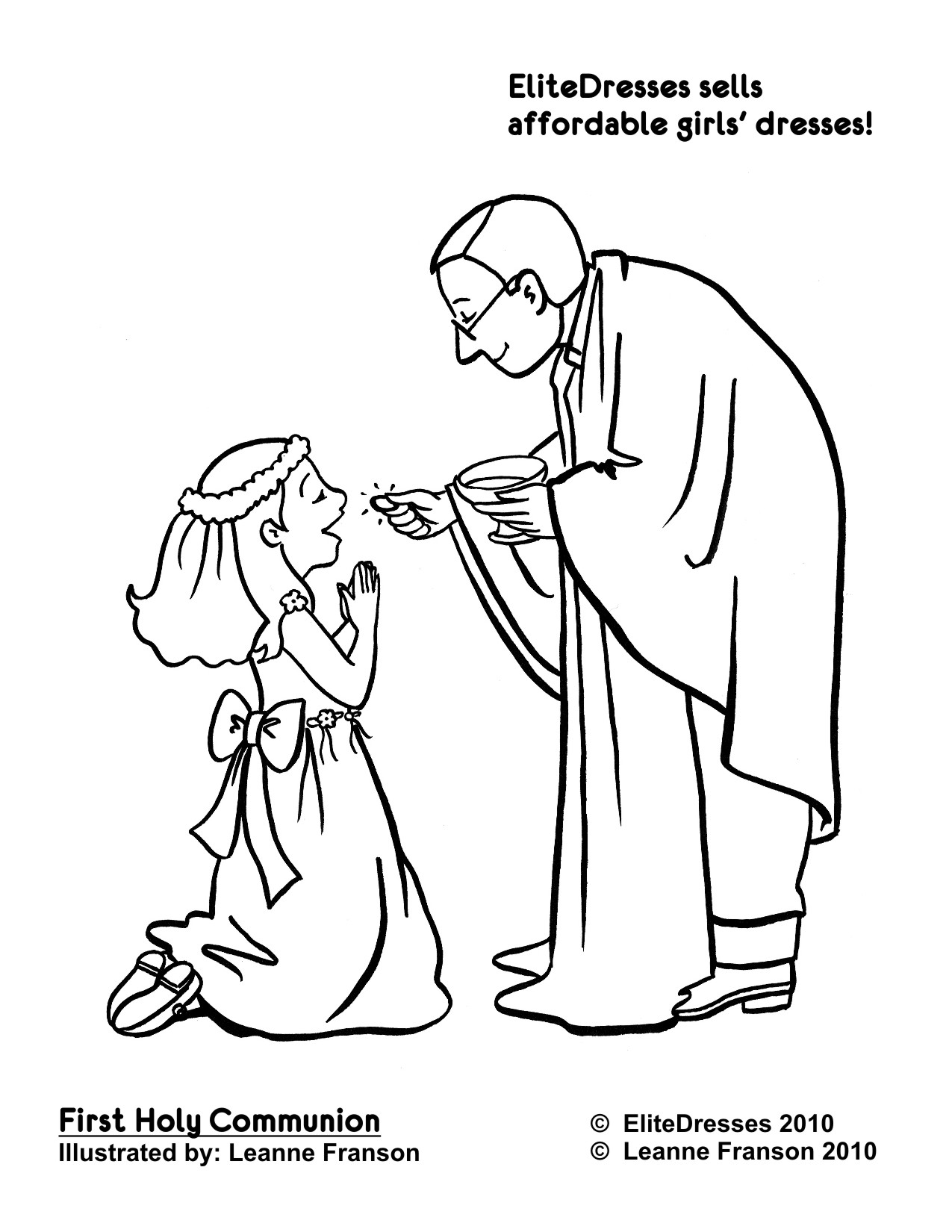 Black And White First Communion Clip Art