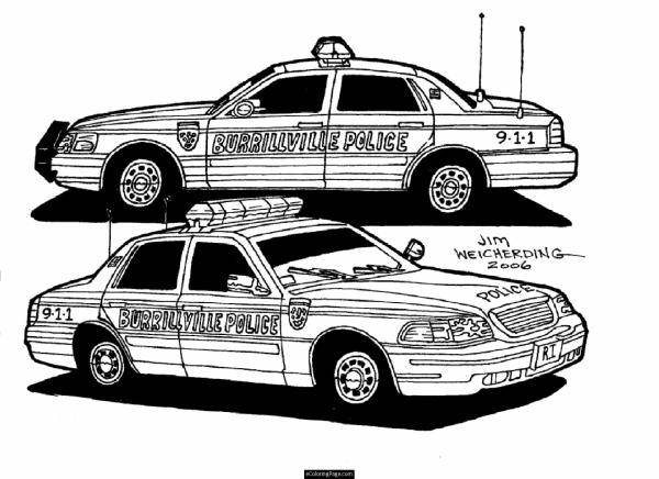 police car coloring page # 21