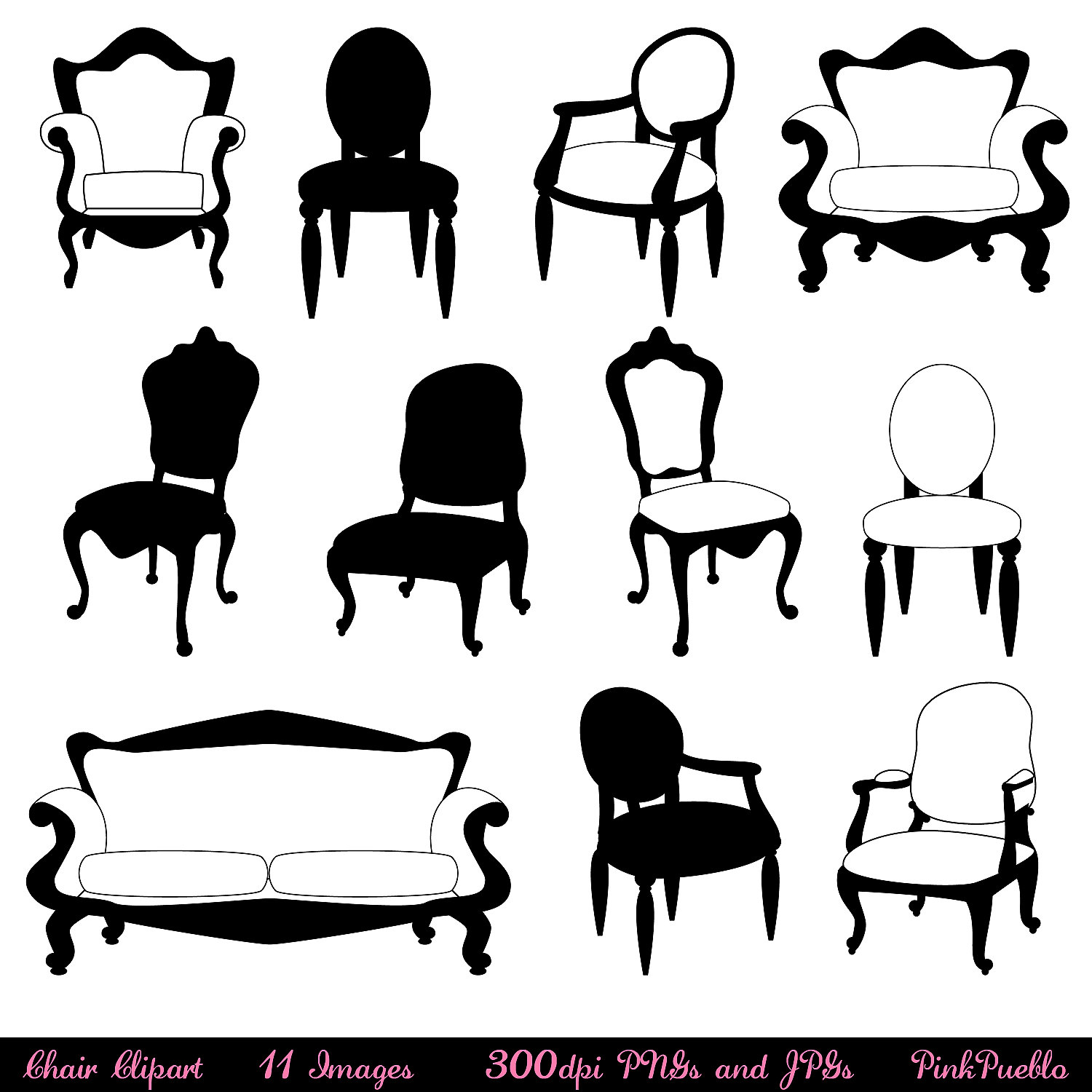 Chair Clip Art Clipart Chair Silhouettes Furniture By