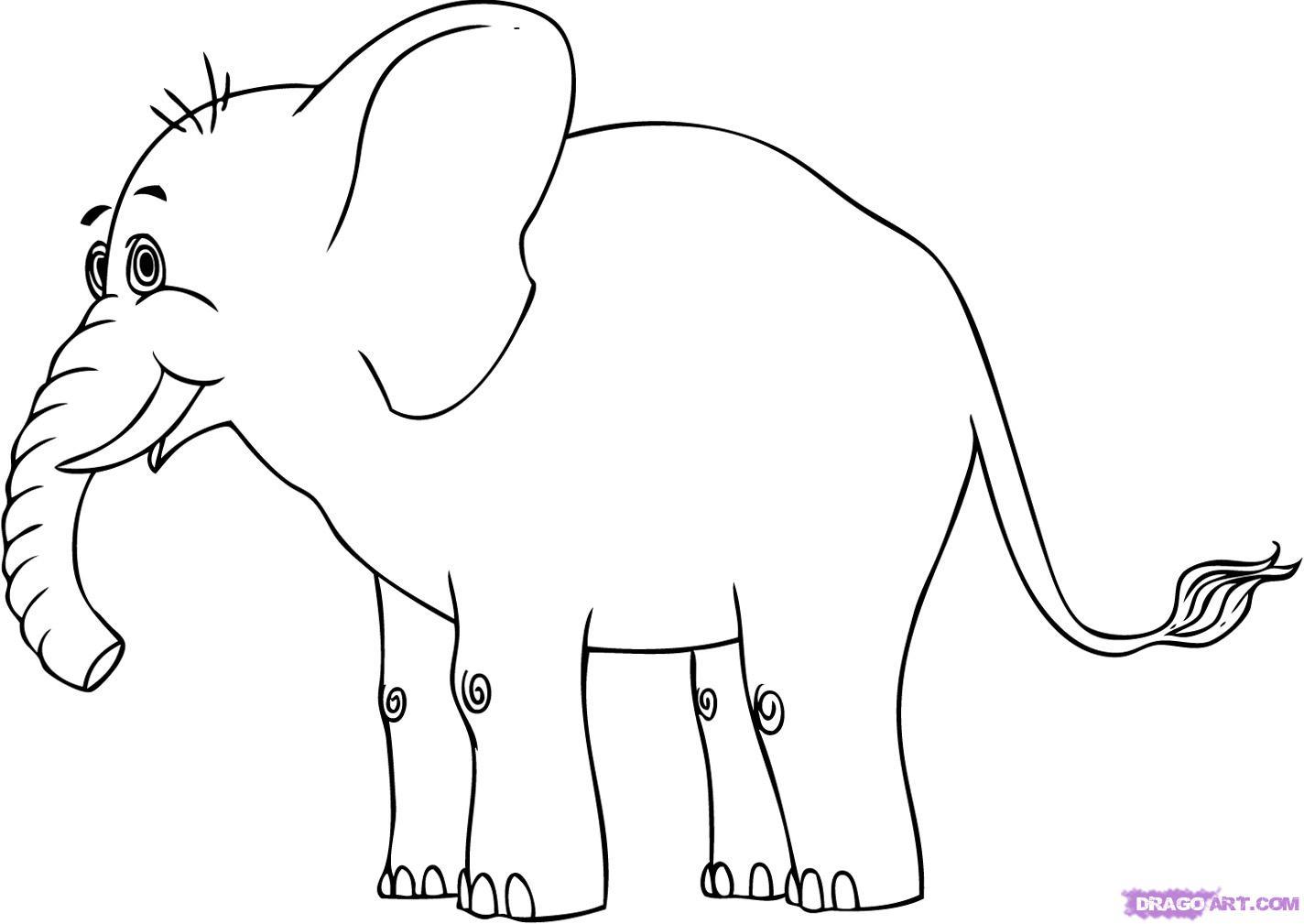 Free Elephant Cartoon Outline Download Free Clip Art