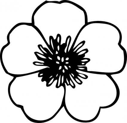 Simple Flower Clipart Black And White Free Clip Art Library