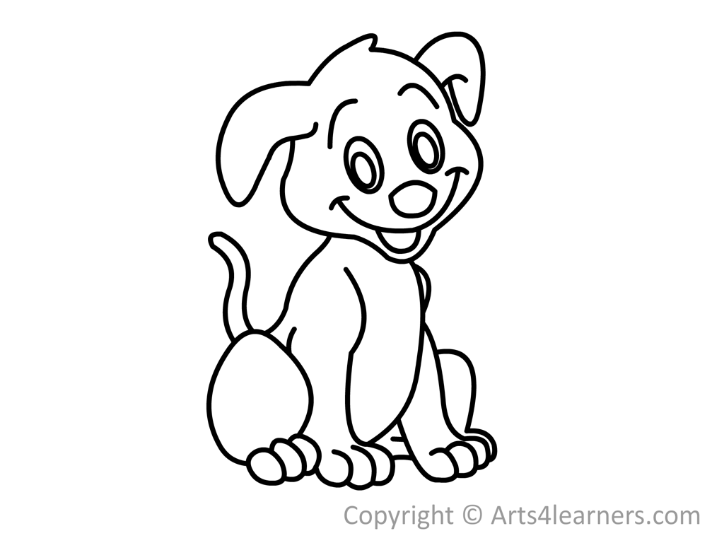 Free How To Draw A Dog In Black Out Line Download Free
