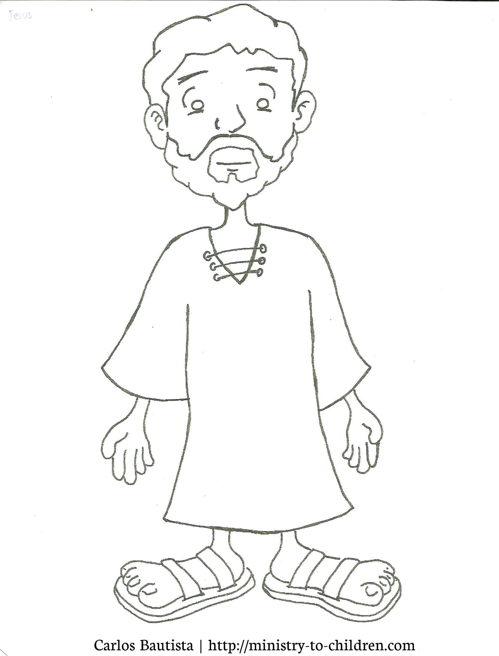 Jesus Coloring Page Printable Cartoon Figure