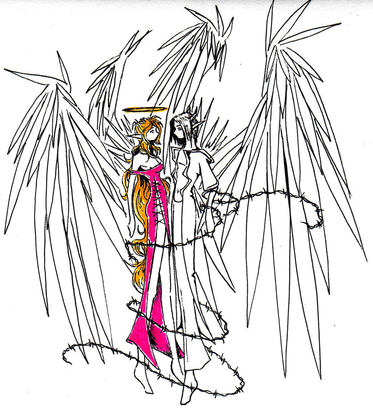 Angel Girl Devil Boy Love By Skissored On Clipart Library