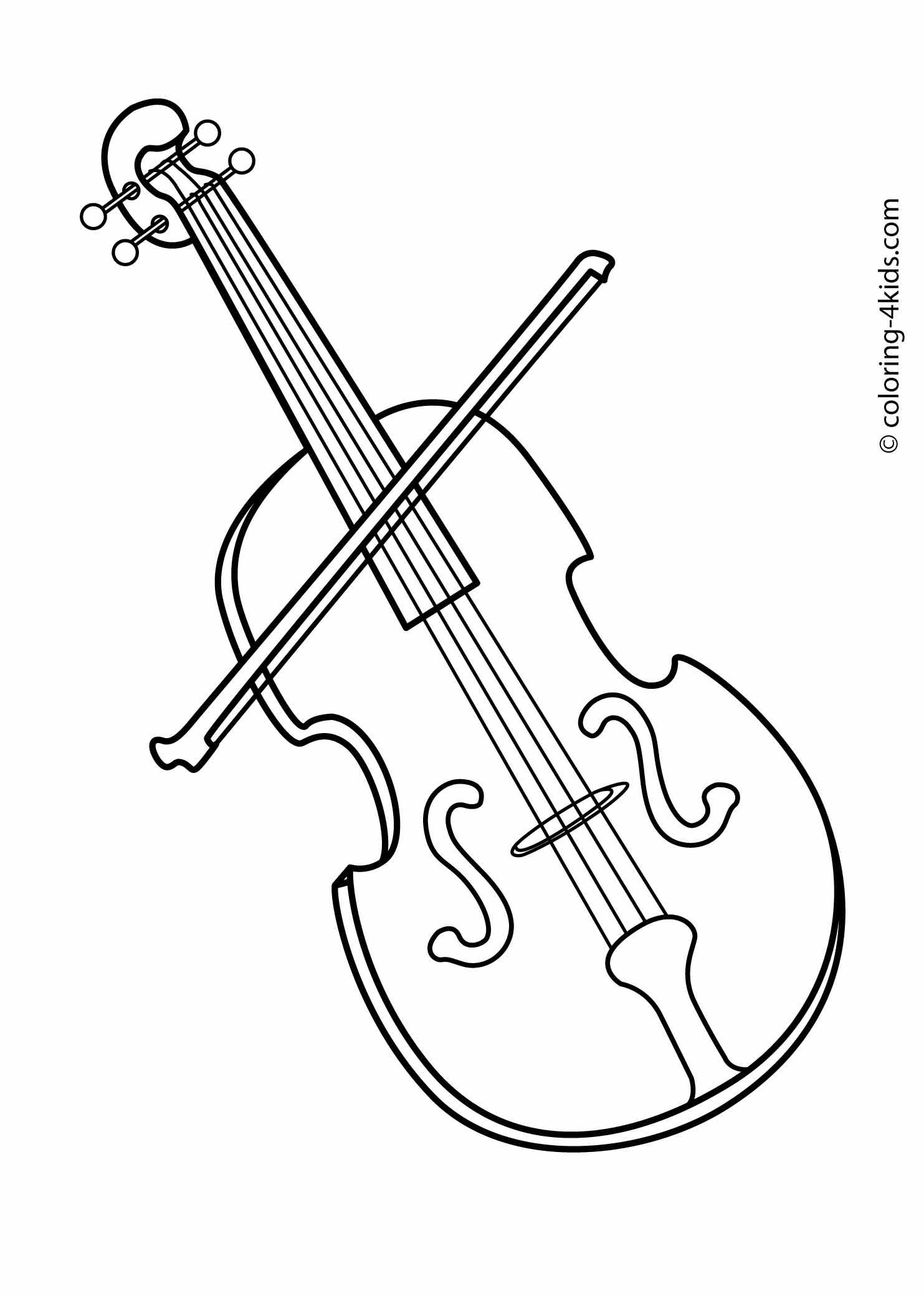Violin Musical Instruments Coloring Pages For Kids