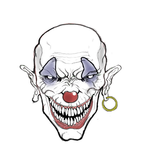 Creepy Clown Face Drawing Clip Art Library