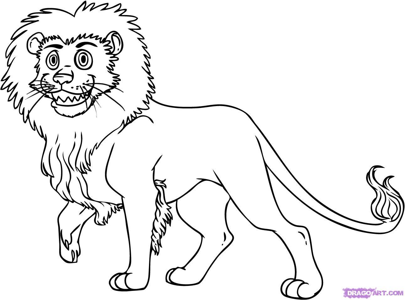 How To Draw A Cartoon Lion Step By Step Cartoon Animals