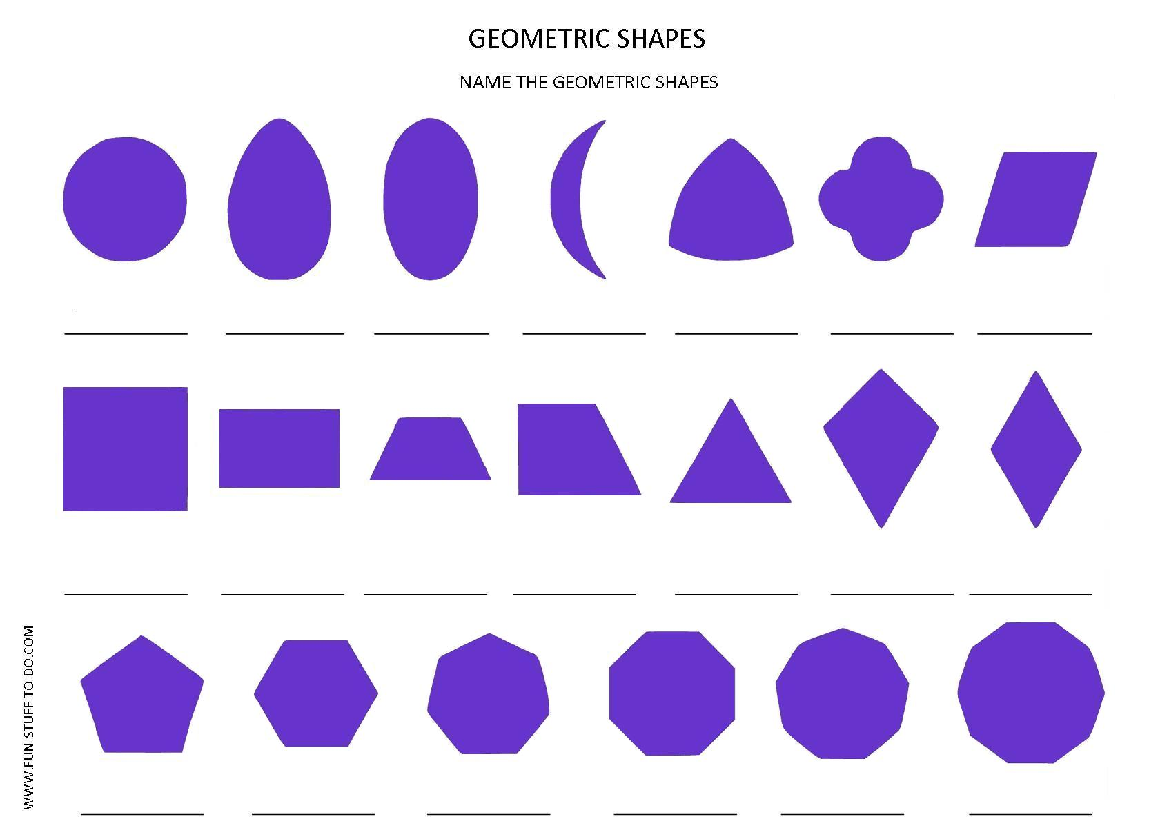 Geometric Shapes Worksheets Free To Print