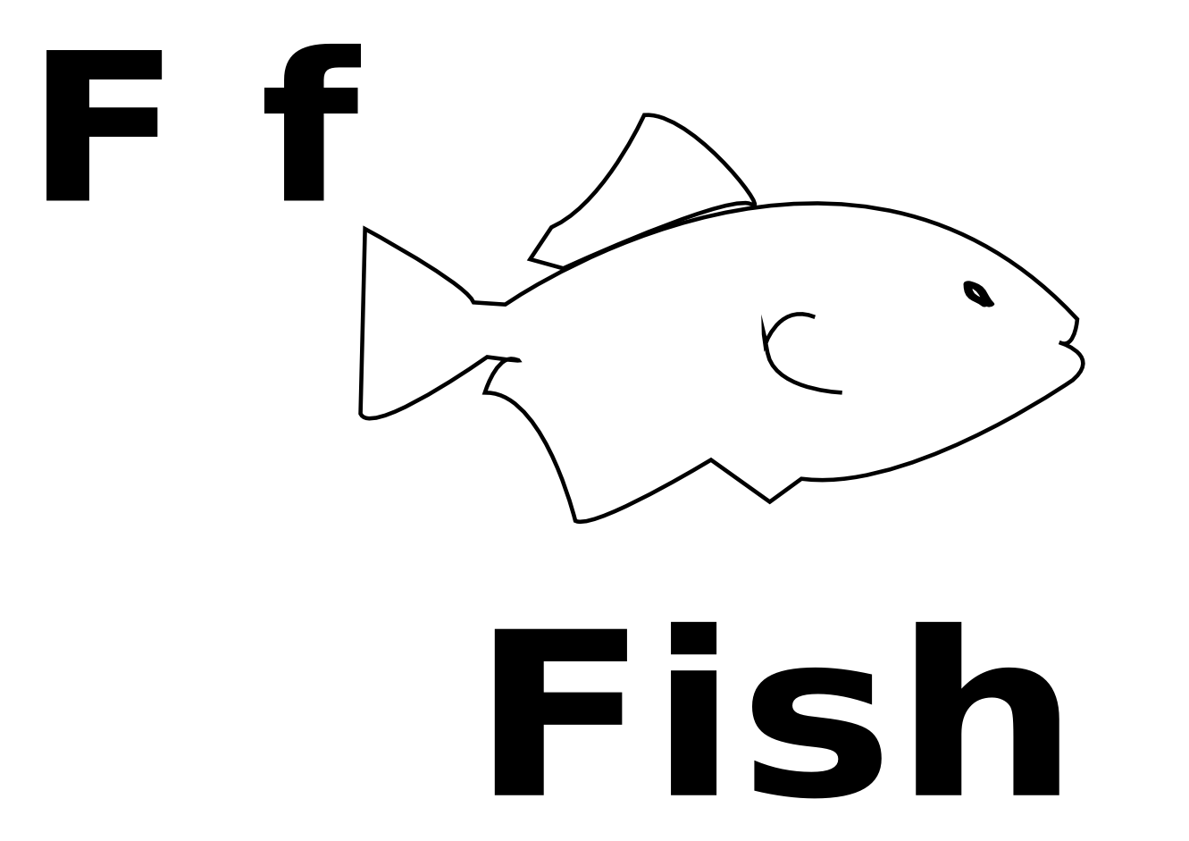 F For Fish Black White Line Art Coloring Book Colouring