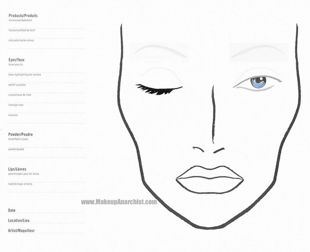 Blank Mac Face Charts Makeup Anarchist