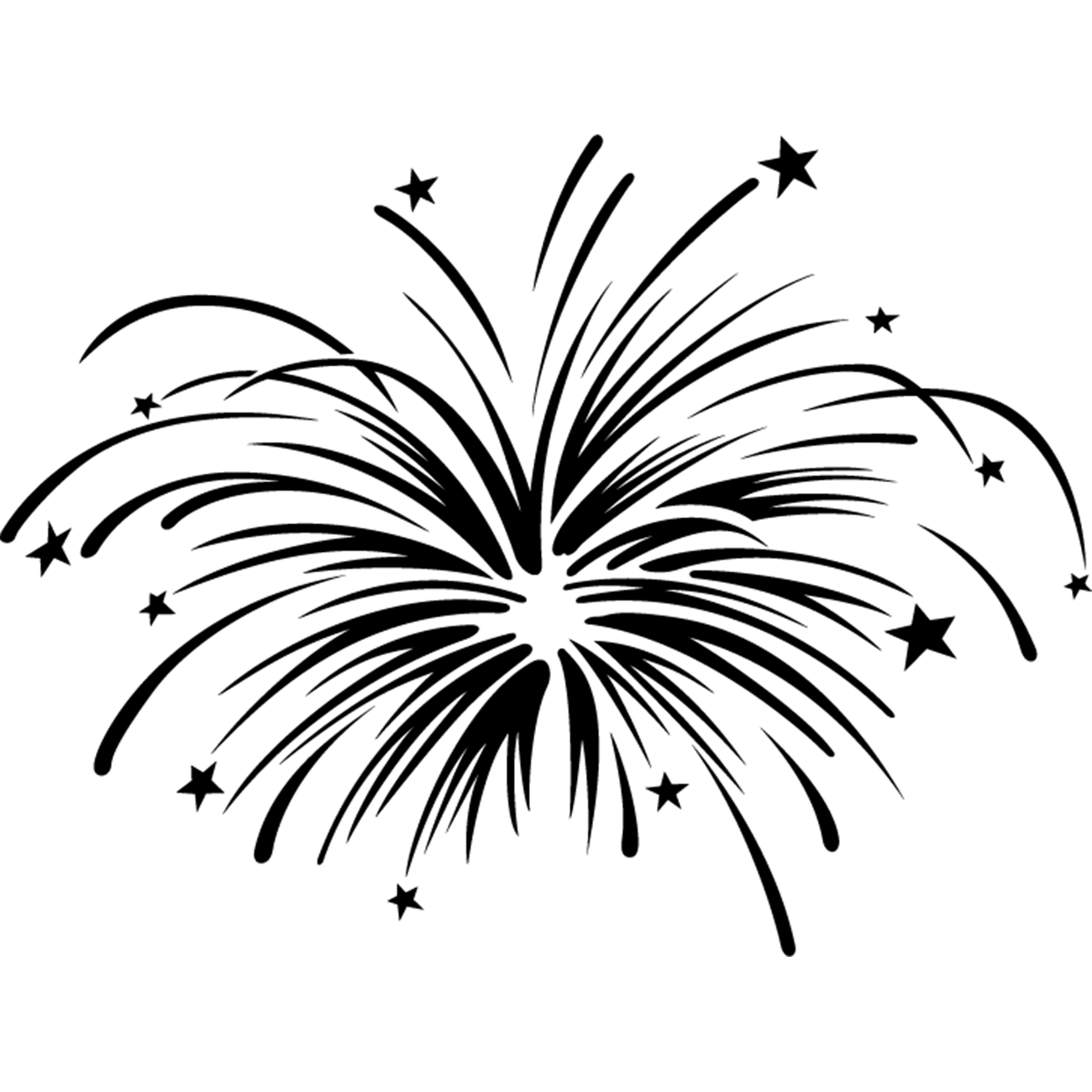Fireworks Black And White Clip Art