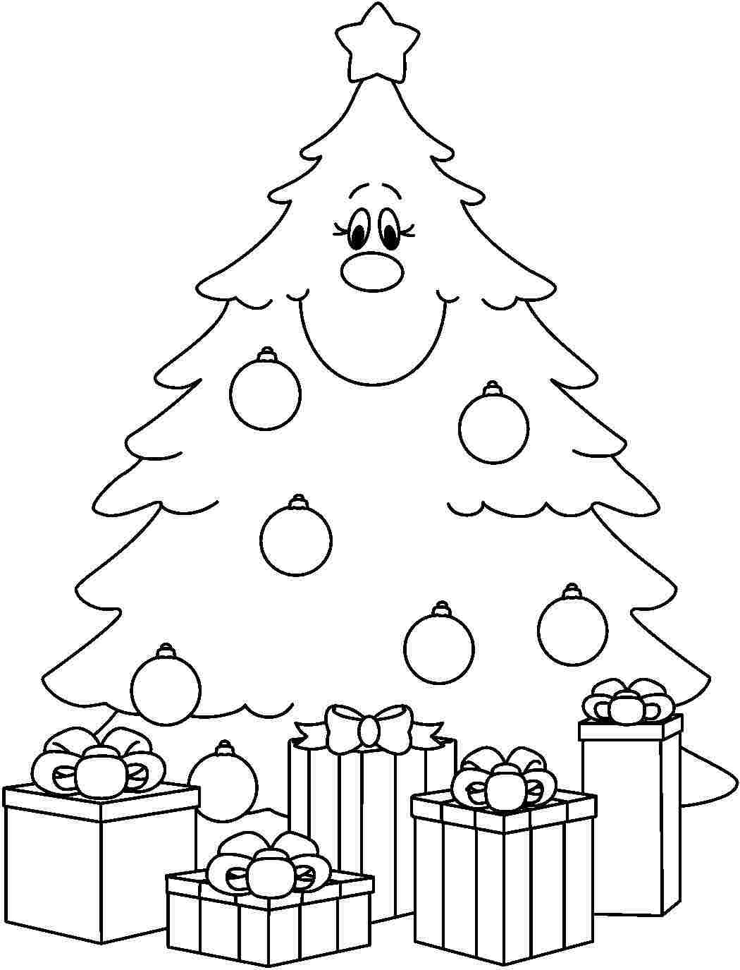 Christmas Xmas Tree Pictures To Draw Print For Preschool