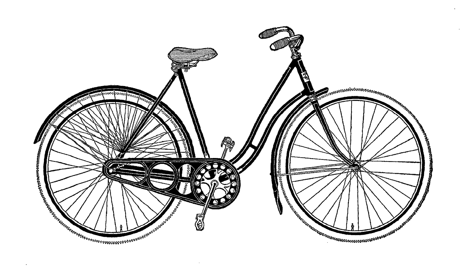 Vintage Woman Bicycle Clipart