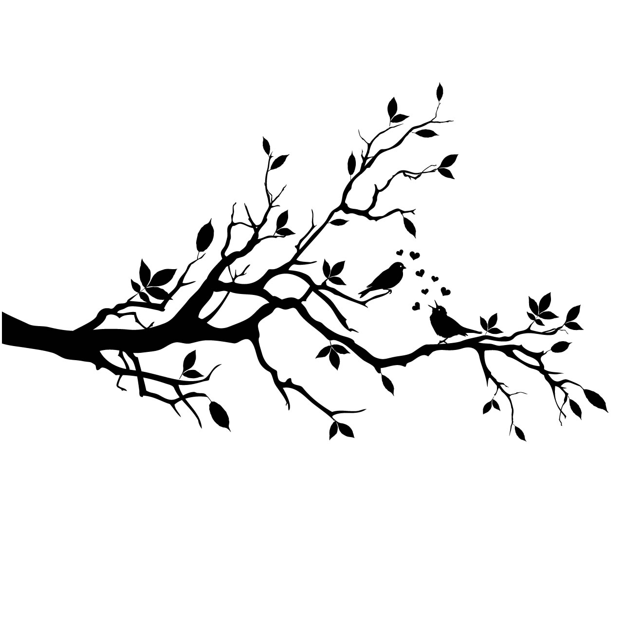 Bird In Tree Black And White Clipart