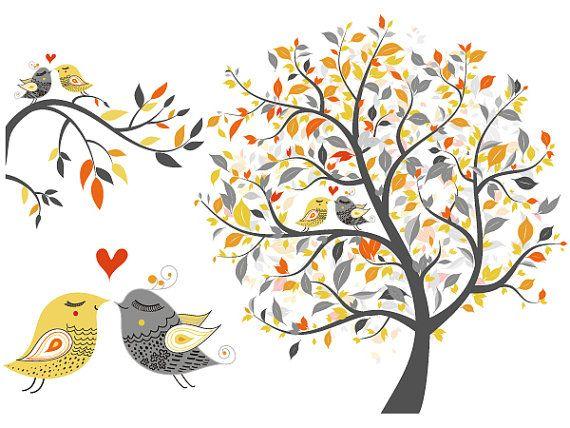 Love Bird Black And Art White Nest Clip