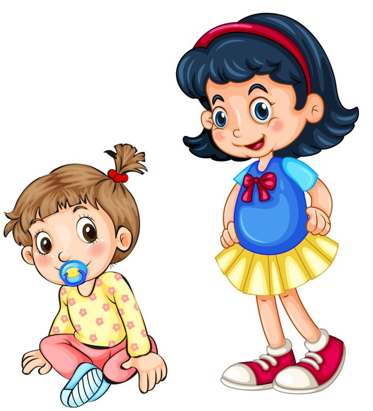 Girl Cute Two Cartoon Sisters