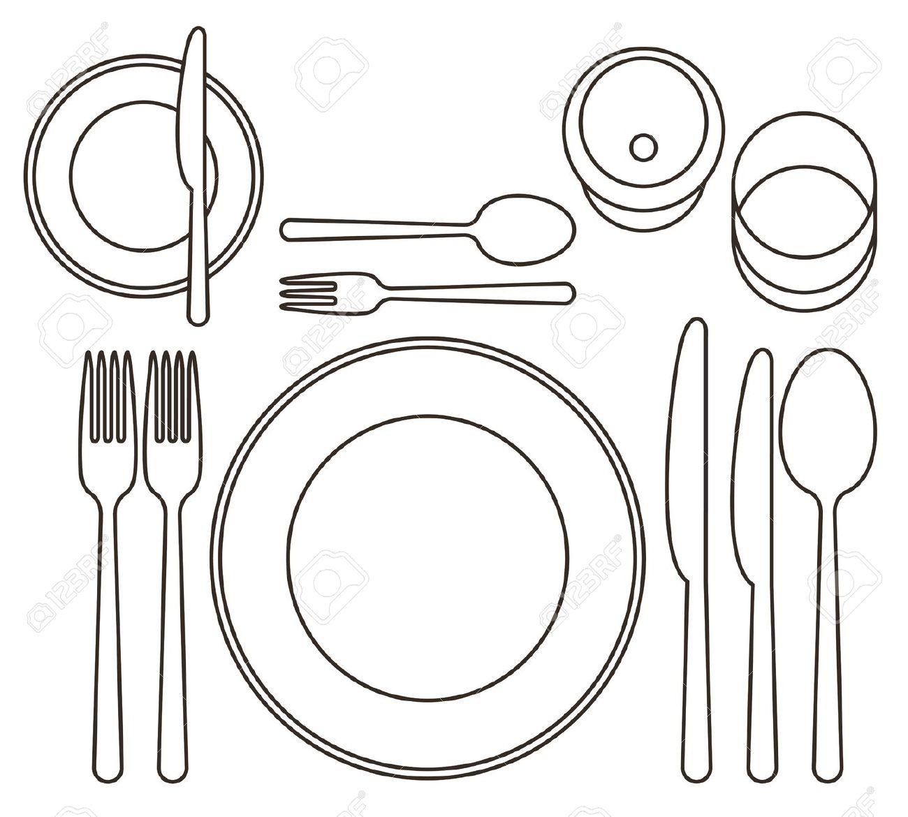 Dinner Table Setting Clipart Vector