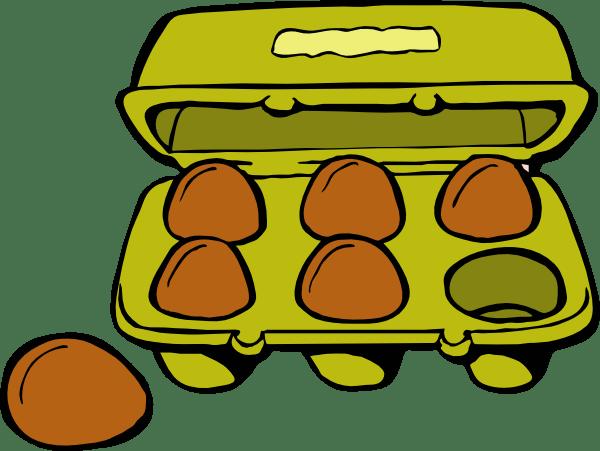 Cartoon Egg And Empty Carton Black White
