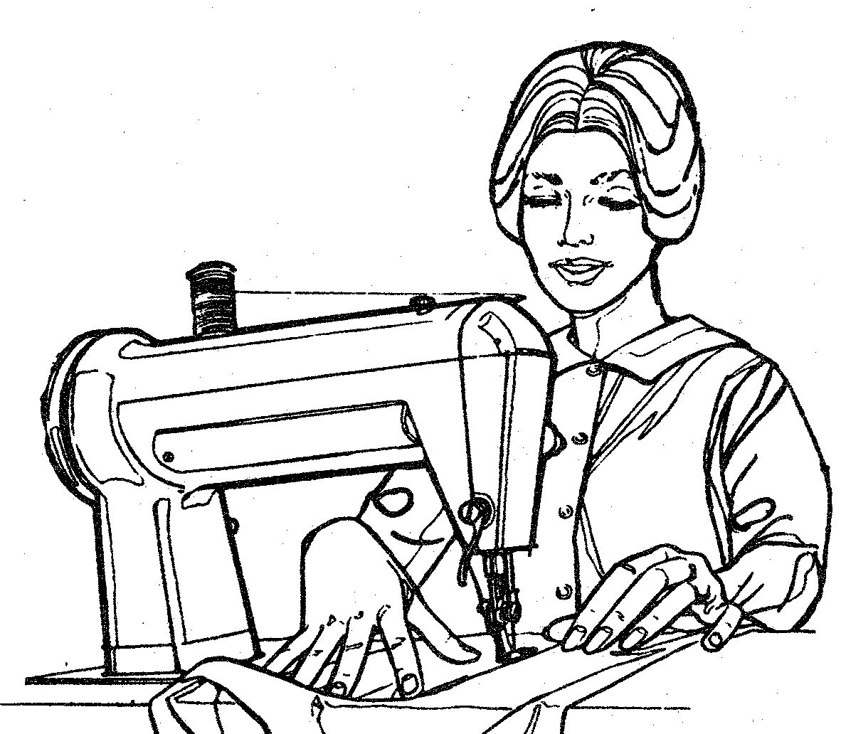 Lady Sewing Clipart