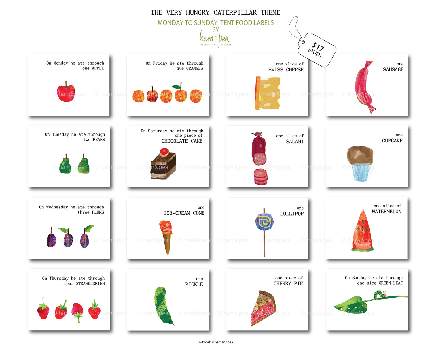Very Hungry Caterpillar Food Clipart