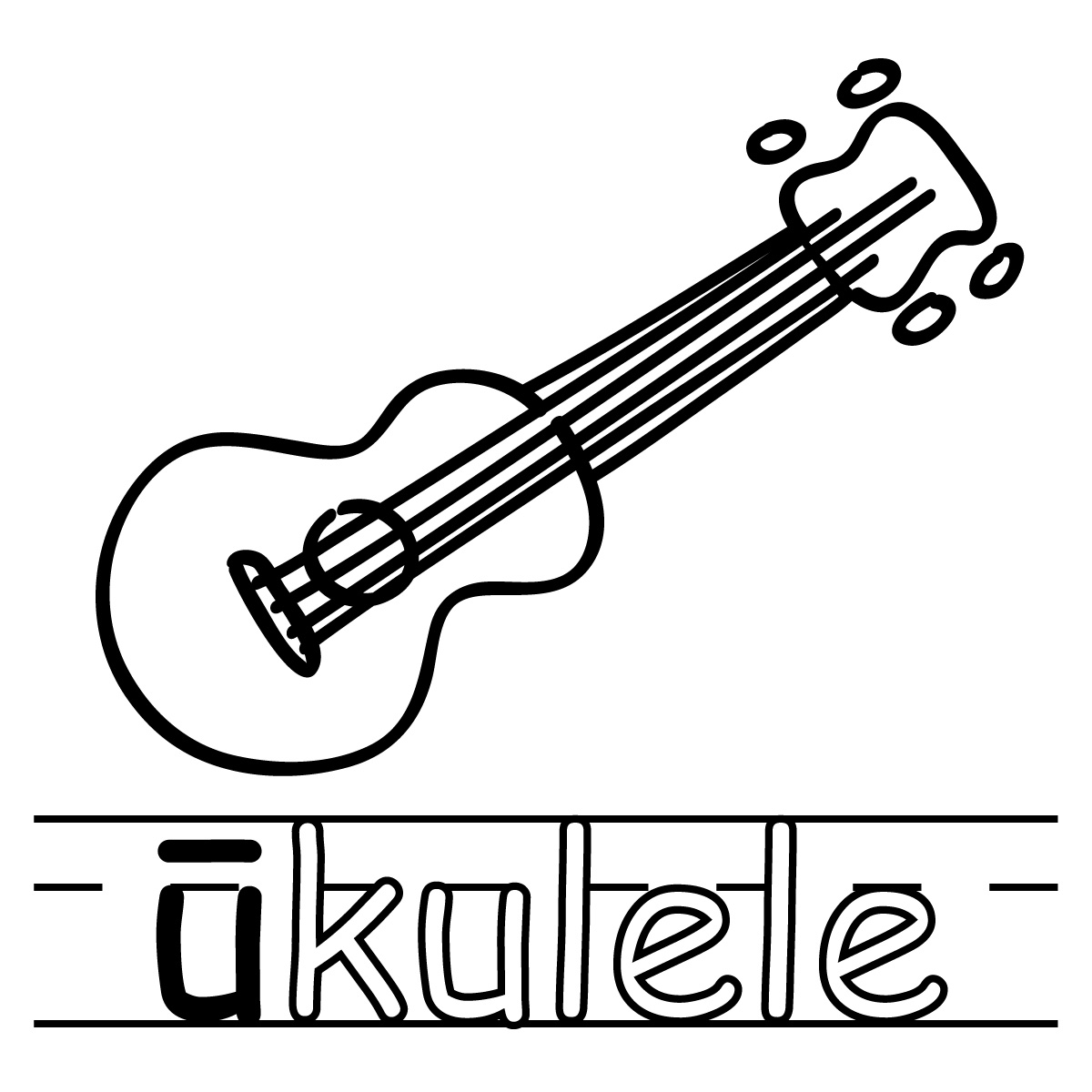 Ukulele Clipart Black And White