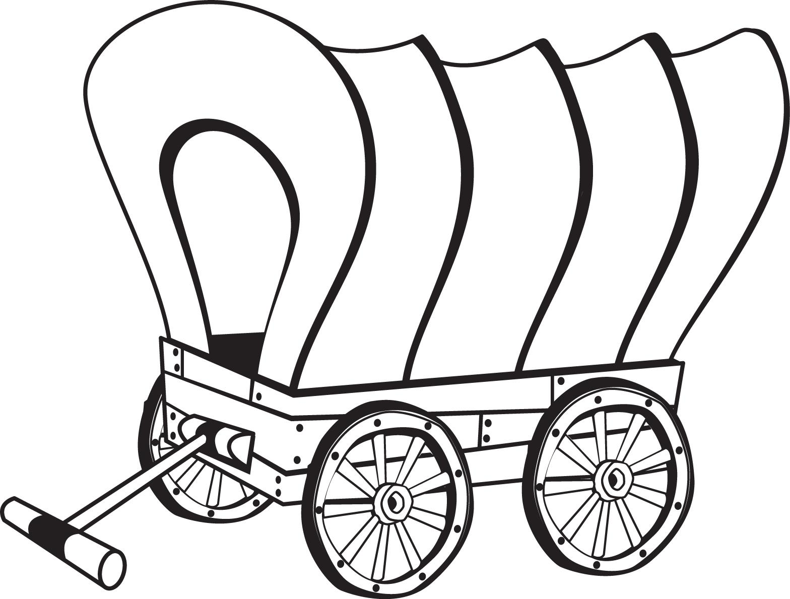 Pioneer Wagon Coloring Page Pioneer Clip Art Black And White