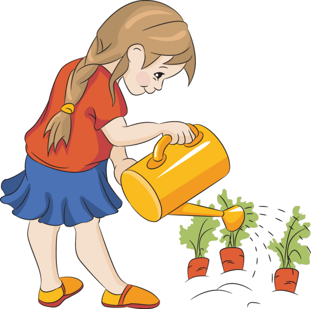 watering the plants clipart - Clip Art Library (640 x 635 Pixel)
